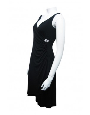Miss Me - Soft Knit Wrap Dress with Diamontee Brooch