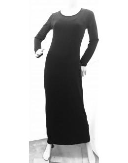 Four Girlz - Plain Black Soft Knit Maxi Dress with Higher Neck & Long Sleeves