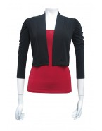 Four Girlz - Soft knit cropped jacket with ruched shoulders and 3/4 sleeves
