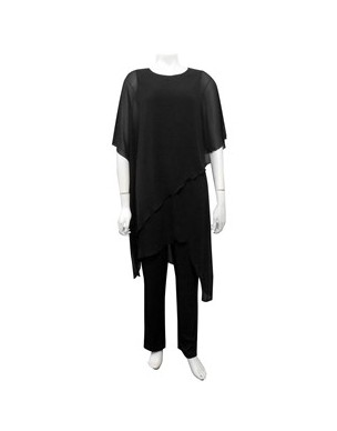 Sister Sister 10885 - Tilly soft knit jumpsuit with chiffon overlay.