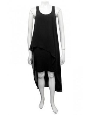 Sister Sister - Kim plain overlay chiffon dress.