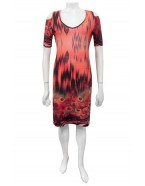 Four Girlz - Peach border print dress with keyhole.