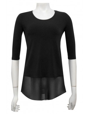 Four Girlz - Chrissy 3/4 sleeve top with contrast chiffon hem