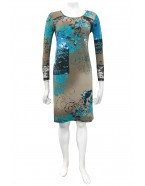 Four Girlz - Maryann print dress with 3/4 sleeves and lace.