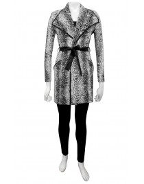Four Girlz - Siri belted wrap coat with contrast belt and bind detail.
