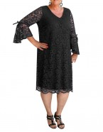 Room To Move - Margo lace dress with frill sleeves and tie detail.