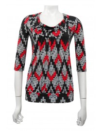 Four Girlz - 3/4 Sleeve cowl neck top with gathered front.