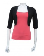 Miss Me - Soft knit cropped shrug with Satin neck bind