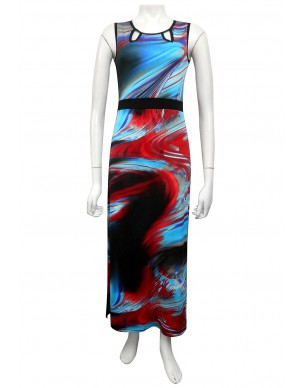 Miss Me - Justine maxi dress with keyhole detail at front, contrast binding