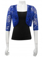 Miss Me - Lace Cropped shrug with satin binds
